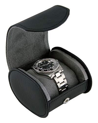 Heiden Travel Watch Case for Men - Black Leather Watch Box Roll - Great for Travel with Large Watches
