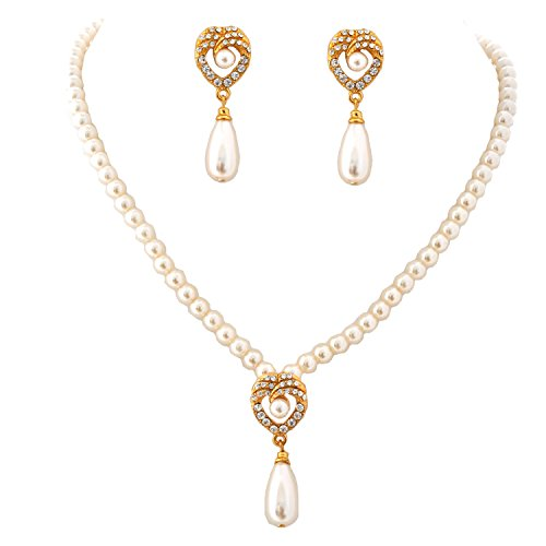 Topwholesalejewel Jewelry Set Gold Crystal Simulated Pearl Drop Necklace Earrings (Drop Pearl Set)