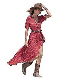 Orangesky Women Boho Summer Chiffon Floral Party Beach Long Maxi Dress