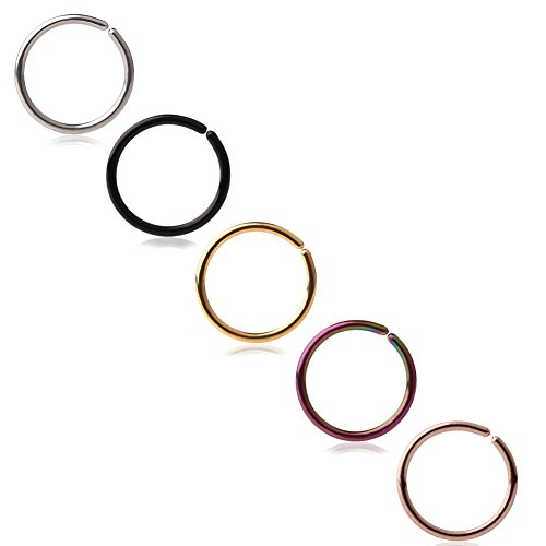 Ruifan 20G Round Ends Stainless Steel Body Jewelry Piercing Nose Hoop Ring 6mm 5PCS (Mix (Seamless Nose Ring)