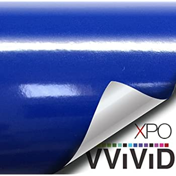VVIVID XPO Glossy Dark Navy Blue Vinyl Car Wrap Film DIY Easy to Install No-Mess Decal (1ft x 5ft)