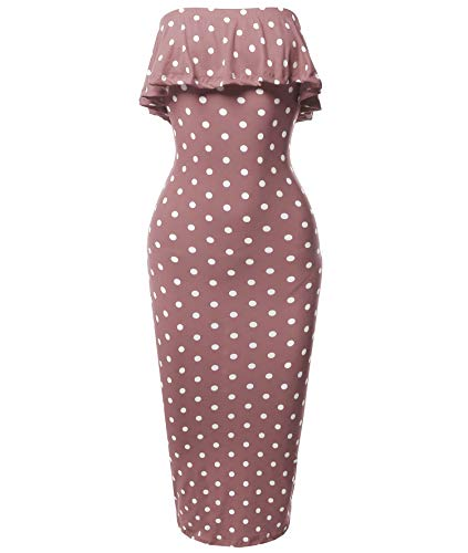 (Solid or Patterned Off-Shoulder Crepe Tube Midi Dress Mauve Polka Dot S)