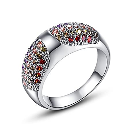 Empsoul 925 Sterling Silver Natural Novelty Plated Garnet & Peridot Topaz Engagement Band Ring (Garnet Rings Clearance)