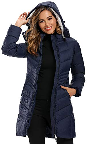 Caistre Women's Thickened Hooded Winter Down Jacket Outwear Puffer Down Coats with Pockets