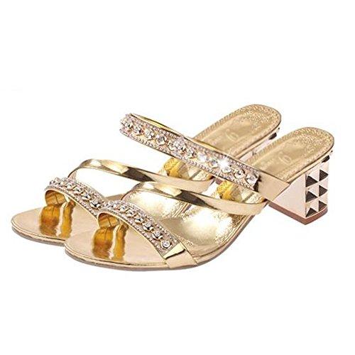 XW Zapatillas de verano Zapatillas de mujer Zapatillas de moda Zapatillas de mujer gruesas de verano Zapatillas de diamantes de tacón Zapatillas de tacón alto Zapatillas de cuña Zapatos de playa exter Oro