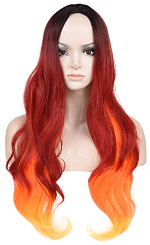 SEIKEA Colored Ombre Wig for Women Long Wavy