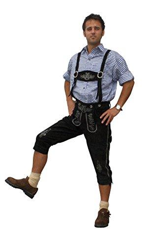 Trachten Lederhose aus echtem Leder Kniebundhose Größe 46-60 (50, schwarz)