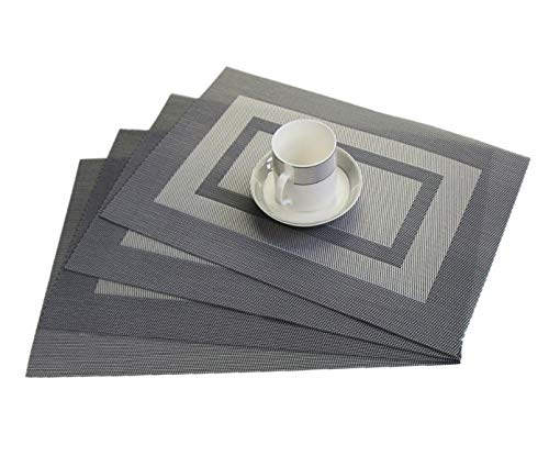 - WANGCHAO Placemats Set of 6, 12'x18 Cross Weave Durable Woven Vinyl NOL-Slip Insulation Placemat Washable Table Mats (Silver Black)