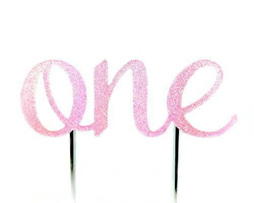 Handmade 1st First Birthday Cake Topper Decoration - One - Made in USA with Double Sided Glitter Stock (Pastel Pink) -