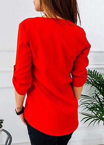Top Sexy Blouses Rouge Unie Jinglive a Casual Femme Shirt T Sweat Haut Lache Et Zippe Shirts Col Demi Couleur Manche Chemisiers V wCx46CqO