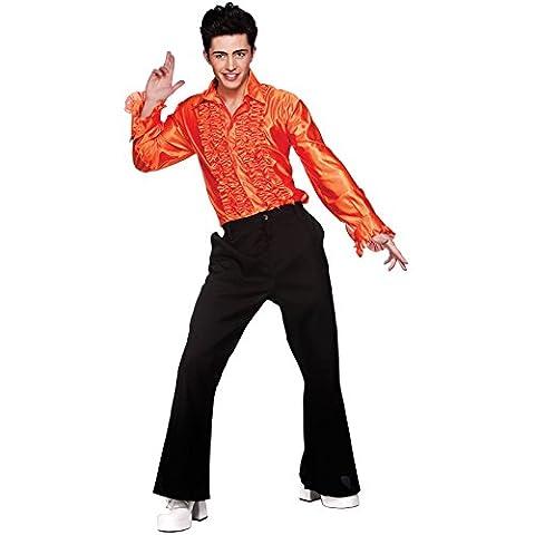 Pimp Costumes For Kids - L Mens Orange Disco Ruffle Shirts Costume