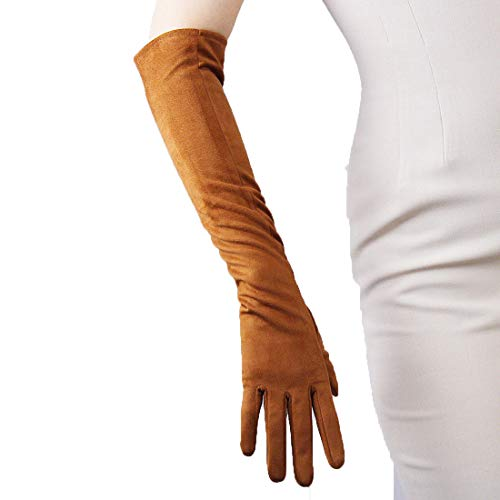 (QIN FE Suede Long Gloves Faux Leather 20