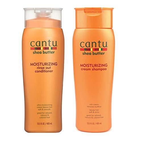 Cantu Moisturizing Cream Shampoo 13.5 oz & Moisturizing Rinse Out Conditioner 13.5 oz