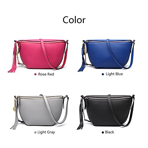 Gray for Zipper Bags Leather Pocket Small Cowhide Bag Shoulder with Crossbody Women Tassel pqw76x6H