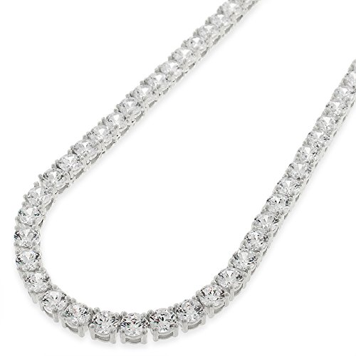 Sterling Silver 4mm Brilliant-Cut Clear Round CZ Solid 925 White Tennis Necklace 20'' - 30'' (20) by In Style Designz