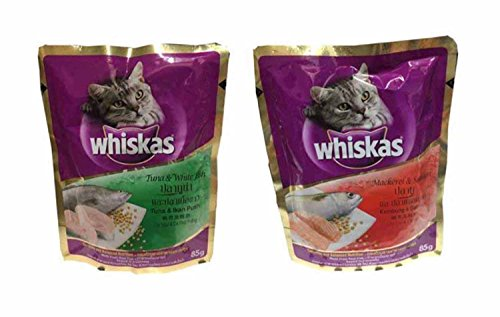 NKC Whiskas cat food Tuna & White Fish Flavor 1 pack (3 oz./85 g) and Mackerel & Salmon Flavor 1 pack(3 oz./85 g)
