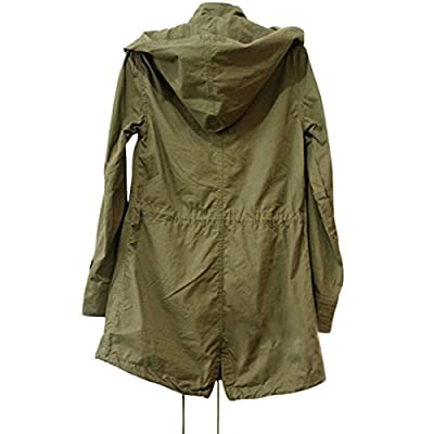 Cekaso Women's Anorak Jacket Lightweight Drawstring Hooded Military Parka Coat