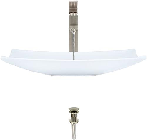 V360-White Porcelain Vessel Sink Brushed Nickel Ensemble with 721 Vessel Faucet Bundle – 3 Items Sink, Faucet, and Pop Up Drain