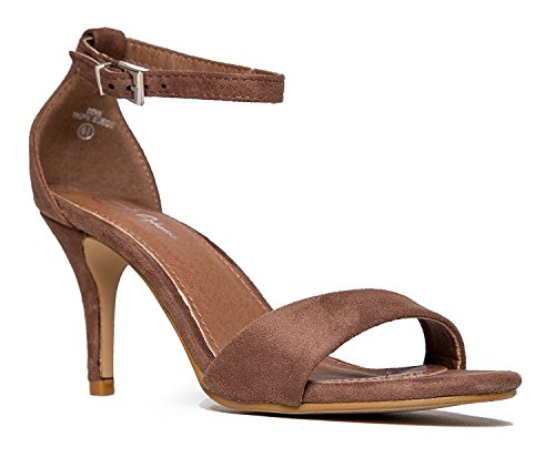 Heels Suede Brown Wedge - J. Adams Low Ankle Strap Work Heel, Taupe Suede, 8 B(M) US