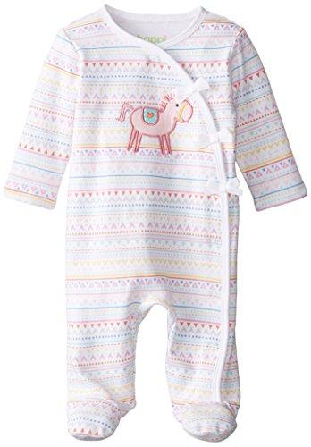 Happi by Dena Baby-Girls Newborn Horse Coverall, White, 6 Months