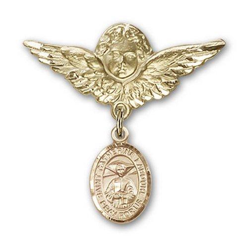 Icecarats Or Bijoux De Créateurs Rempli R. Catherine Labouré Charme Ange Broche De Badge 1 1/8 X 1 1/8