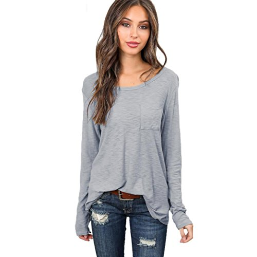 Big Clearance! Women Blouse Daoroka Ladies Cotton Long Sleeve Pockets Round Neck Casual Loose Solid Tops Autumn Fashion Cute Soft Comfort Pullover T Shirts -