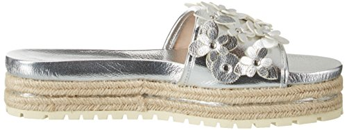 Buffalo Shoes 316-4162 Leather Pu, Sandalias con Cuña para Mujer Plateado (Silver)