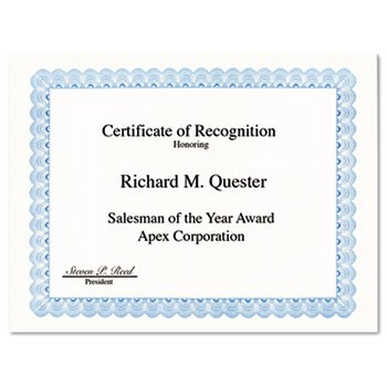 Geographics 20008 Parchment Paper Certificates, 8-1/2 x 11, Blue Conventional Border, 50/Pack by Geographics