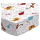 SheetWorld Fitted Cradle Sheet - Pooh & Friends Clouds - Made In USA - 18 inches x 36 inches (45.7 cm x 91.4 cm)
