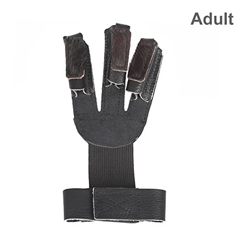 Krayney Adult Youth Leather Gloves Finger Protector, Shooting Hunting Arrow Bow Archery Gear Accessories (Black-Adult Size)