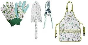 Esschert Design Set: Schürze, Handschuhe, Blumenkelle und Gartenschere mit...