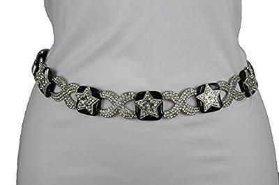 TFJ Women Narrow Western Fashion Belt Silver Metal Stra Bling Buckle S M Black