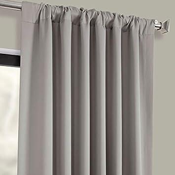 HPD HALF PRICE DRAPES BOCH-174402-84 Blackout Room Darkening Curtain, 50 X 84, Neutral Grey