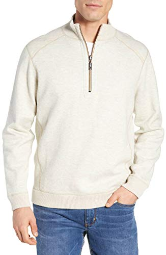 Tommy Bahama Flipsider Reversible Quarter-Zip Pullover (Smoke Light Heather, XL)