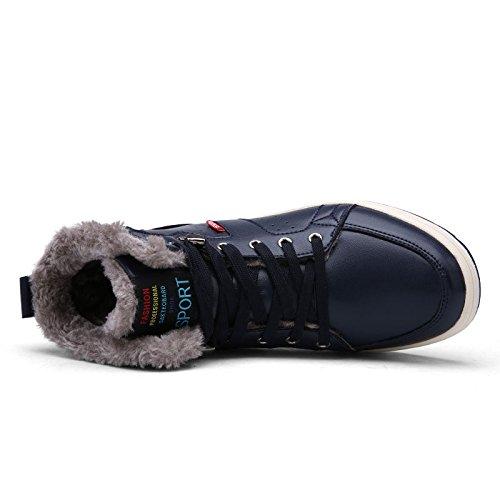 Stivali Stivali Calda Uomini Sneaker Da Stivaletti Scarpa Neve Sport Avvio Impermeabile Scuro D'inverno 43 Blu Di Foderati Pelliccia dHqId5