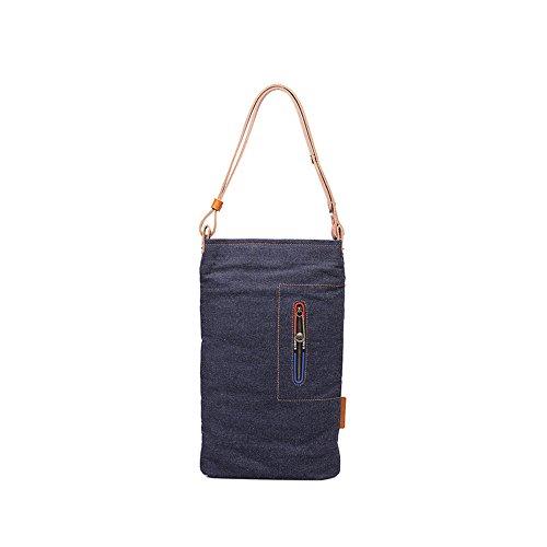 Sunbobo Bolso de hombro retro simple de la lona de la cremallera de la lona Color Azul oscuro