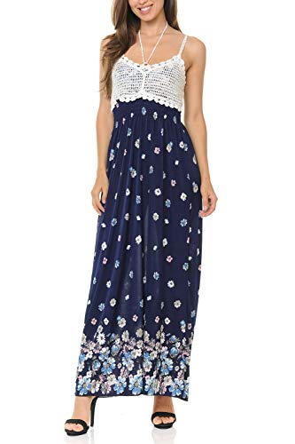 Auliné Collection Womens Crochet Lace Print Halter Strap Loose Long Maxi Dress - Pastel Daisies S/M - Daisy Lace Cami