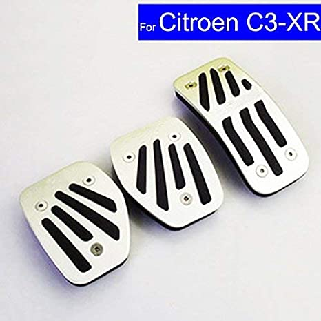 SZSS-CAR Car New Aluminium Alloy Fuel Petrol Clutch Fuel Brake Braking Pad Foot Pedals Rest Plate Set for Citroen C3-XR Pedals with Logo