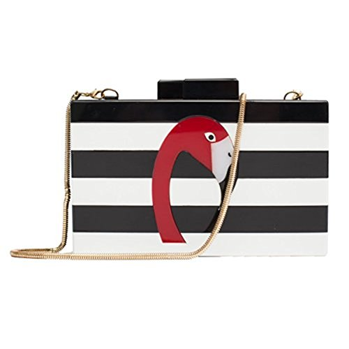 Shiratori Women's Designer Elegant Flamingo Hard Case Chain Shoulder Bag Perspex Handbag Box Clutch