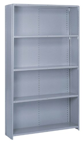 Lyon PP8477H Commercial Stand Alone Closed Offset Angle Shelving with 10 Heavy Duty Shelves, 48