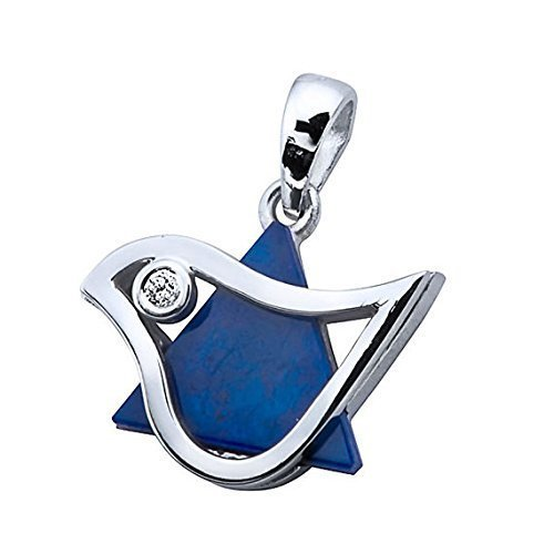 18k White Gold Dove of Peace Star of David Pendant with Diamond and Lapis Lazuli Stone