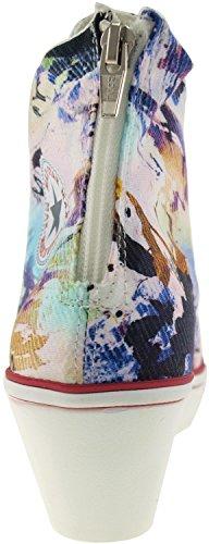 Wedge Zipper Back Printed Maxstar top Heels Canvas Fabric Blue Low High Shoes Sw8AxAqfa