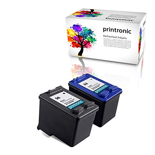 (Printronic Remanufactured Ink Cartridge Replacement for HP 56 C6656AN HP 22 C9352AN (1 Black, 1 Color) 2 Pack)