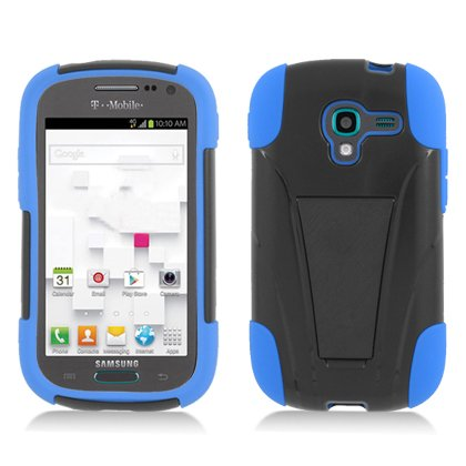 Armor Kickstand Hybrid Dual Layer Hard Gel Protector Cover With Stand For Samsung Galaxy Exhibit T599 - Black and Blue