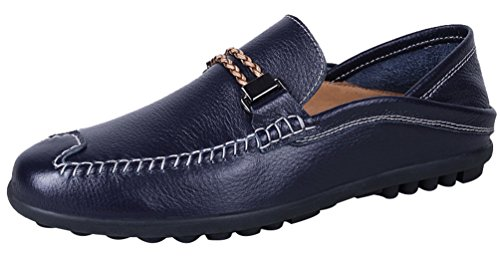 CFP 2062 Mens Flat Leather Stylish Fashionable Leisure Comfy Smart Slip On Cozy Driving Loafer Sneakers Blue