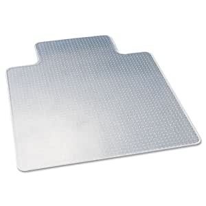 deflecto CM13233 DuraMat Moderate Use Chair Mat for Low Pile Carpet Beveled 45x53 w/Lip Clear