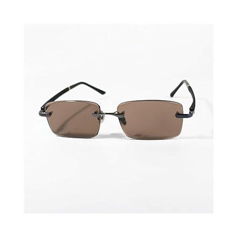 FUBULECY Gafas de Sol de Lentes de Cristal marrón sin Marco ...