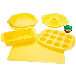 Classic Cuisine 18 Piece Silicone Bakeware Set, Yellow