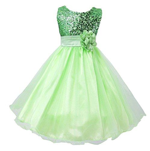 (Wocau Little Girls' Sequin Mesh Tull Dress Sleeveless Flower Party Ball Gown (150(7-8 Years),)