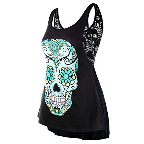 (♛TIANMI Blouses for Women,Summer Casual Sexy Plus Size Skull Flower Swing Tank Top T-Shirt Back Lace Vest(Green,XL))